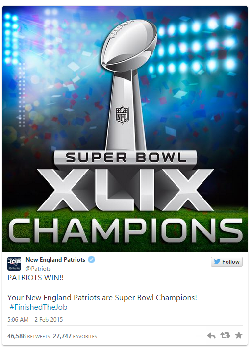 The New England @Patriots #SB49 win plays out on Twitter   Twitter Blogs